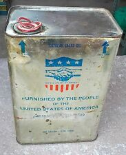 VINTAGE RARE UNIQUE SOYABEAN SALAD OIL TIN BOX,FURNISHED BY THE PEOPLE OF USA