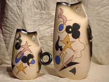 2 LARGE HAND MADE SIGNED ART POTTERY JUGS WITH MODERN DESIGN & DECORATION  EXCEL