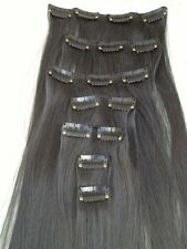 "jet black 7 pcs set straight 20"" long clip in on hair extension heat resist"