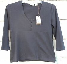 Caslon Black Easy Knit Top 3/4 Sleeve Lace-up Bodice Layering Top Wms S NWT