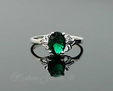 Emerald Green Bow Womens Girls Ladies Sterling Silver Plated Dress Ring Size 6.5