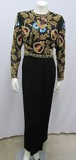 VINTAGE VICTORIA ROYAL BEADED LONG DRESS GOWN FLORAL BLACK GOLD RED BLUE SIZE 6