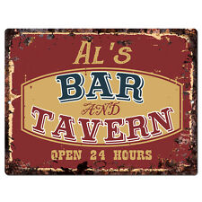 PPBT0435 AL'S BAR and TAVERN Rustic Tin Chic Sign Home Store Decor Gift