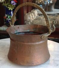 Antique Hammered Copper Cauldron Planter with brass/cast Swing handle