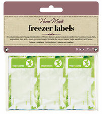 Kitchen Craft FREEZER LABELS pk of 60 self adhesive ASSORTED 75 x 40mm Write On