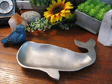 New Rustic Distressed Whale Moby Dick Metal Ring Dish Tray Nautical Beach Decor