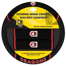 84040 ST GEORGE DRAGONS NRL CAR STEERING WHEEL COVER & SEAT BELT COMFORTS PADS