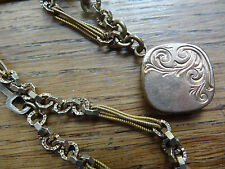 antique Victorian Edwardian photo locket fob fancy watch chain necklace C462