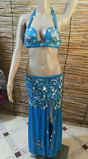 Egyptian Belly Dance Costume bra & Skirt Professional Dancing Sky Blue SIlver