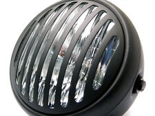 "Matt Black 6 3/4"" Retro Cafe Racer Prison Steel Headlight for Harley Davidson"