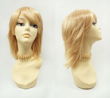 Butterscotch Blonde Shag Wig Straight Layered Bangs Cosplay Anime Costume 12""