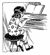 """Clear stamp (2.5""""x3"""") Little Lady Play Piano Music FLONZ unmounted acrylic cling"""
