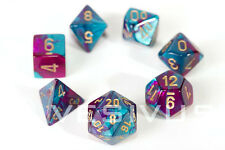 DICE Chessex Gemini PURPLE TEAL 7-Dice Set Marble Shiny d20 d6 Girl Neon 26449