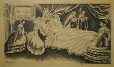 Dessin Ancien Encre Femme Enfant LOUIS TOUCHAGUES 1934 Comtesse Castiglione ?