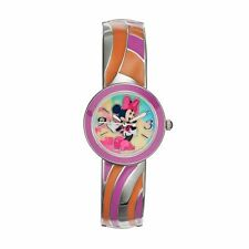 NEW Womens Minnie Mouse Disney Watch Orange Purple Swirl Cuff Bangle SHIPS FREE