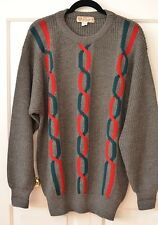 Vintage G Gucci Men's Sz 52 100% Wool Sweater Crewneck Italy Gray Red Green
