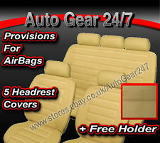 Air Bag Compatible Beige Cream Leather Look Car Seat Covers Full Front Rear Set