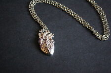 silver tone anatomical heart necklace vintage kitsch emo