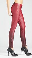 New Women's sz 23 GUESS Kate Skinny Faux Leather Ombre Jeans - Red Wine