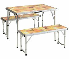 Coleman Pack-Away Portable Camping 4 Person Mosaic Picnic Table Set w/ Benches