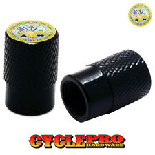 2 Black Billet Knurled Tire Valve Cap Motorcycle - ARMY USA FLAG - 041