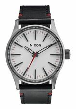 New Nixon Sentry White Dial Leather Strap Mens Watch A377486