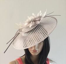 SILVER GREY WEDDING ASCOT DISC FASCINATOR  HAT OCCASION  MOTHER OF THE BRIDE