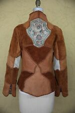 Vtg 60s 70s Char Leather Suede Jacket Coat Handpainted Patchwork Boho Hippie