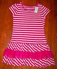 New! Girls THE CHILDREN'S PLACE Pink & White Stripe Ruffles Dress Size XS 4