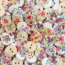 Crystallove Bulk 2 Holes 15mm Flower Buttons Mixed Fasteners for Sewing and DIY