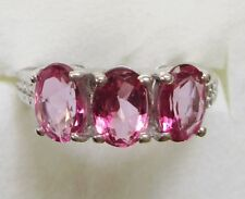 Pink Topaz Three-Stone Ring in 925 Sterling Silver sz 10  ---   2.65cts