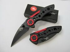 Cute Black&red Saber Fishing Camping Line Lock Pocket Folding Knife Cute Gift