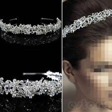 Wedding Bridal Princess Austrian Crystal Hair Tiara Crown Veil Headband Pageant