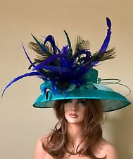 Royal Blue Turquoise Peacock Feathers Wide Brim Sinamay Hat-Kentucky Derby-Race