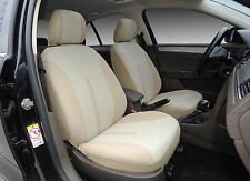 2 Car Seat Covers Semi-Custom Fabric Airbag Compatible to Nissan 861 Tan