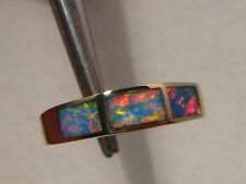 kr1 Pastel Red & Blue  color Australian Opal  Ring 14k Yellow Gold Size 5