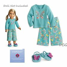 "American Girl MY AG BUTTERFLY GARDEN PAJAMAS for 18"" Doll PJ's Doll Slippers NEW"