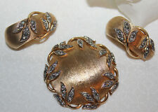 RARE CROWN TRIFARI SIGNED GARDEN OF EDEN PIN AND EARRING SET-EXCELLENT NO WEAR!!