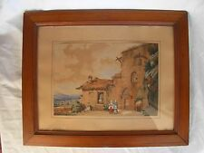 ANTIQUE FRENCH FRAMED WATERCOLOR PAINTING,SIGNED,19th CENTURY.