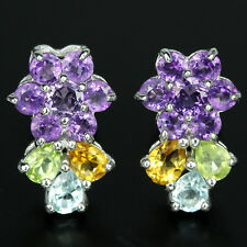 Natural AMETHYST TOPAZ CITRINE & PERIDOT Sterling 925 Silver Flower EARRINGS