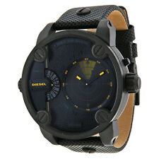 Diesel Little Daddy Black Dial Leather Strap GMT RDR Campaign Radar Mens Watch