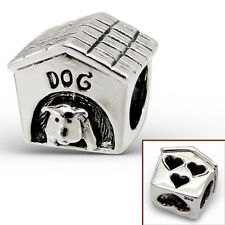 Puppy in a Dog House with Hearts .925 Sterling Silver European Charm Bead