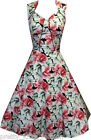 PRETTY 50s WHITE PINK FLORAL VINTAGE TEA ROCKABILLY SWING PROM PARTY DRESS 8-20