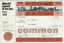 1976 Merrill Lynch & Co Stock Certificate with vignette of NYC skyline