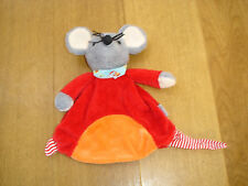 STERNTALER RED ORANGE MOUSE MAUS COMFORTER BABY SOFT TOY RATTLE