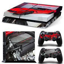 Sony PS4 Console and Controller Skins -- Red Corvette Theme (#0946)