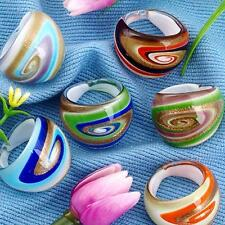 6X Lampwork Glass Band Rings 17-19mm 6 Colors Gifts CHIC Gold Foil