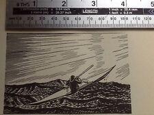 1930s Art Deco xilografía Impresa por Rockwell Kent: hombre en kayak DickieROBERTSexniñoestrella David     NuevoYSellado