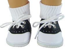 Black Saddle Shoes & Ankle Socks made for American Girl Molly Doll Clothes