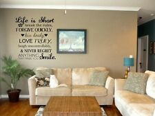 LIFE IS SHORT Vinyl Wall Decal Words Lettering Sticker Stencil Home Decor 24'